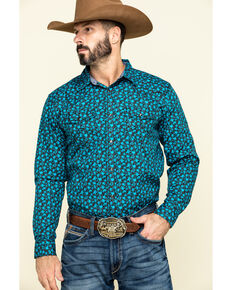 Cody James Men's High Sierra Floral Print Long Sleeve Western Shirt , Blue, hi-res