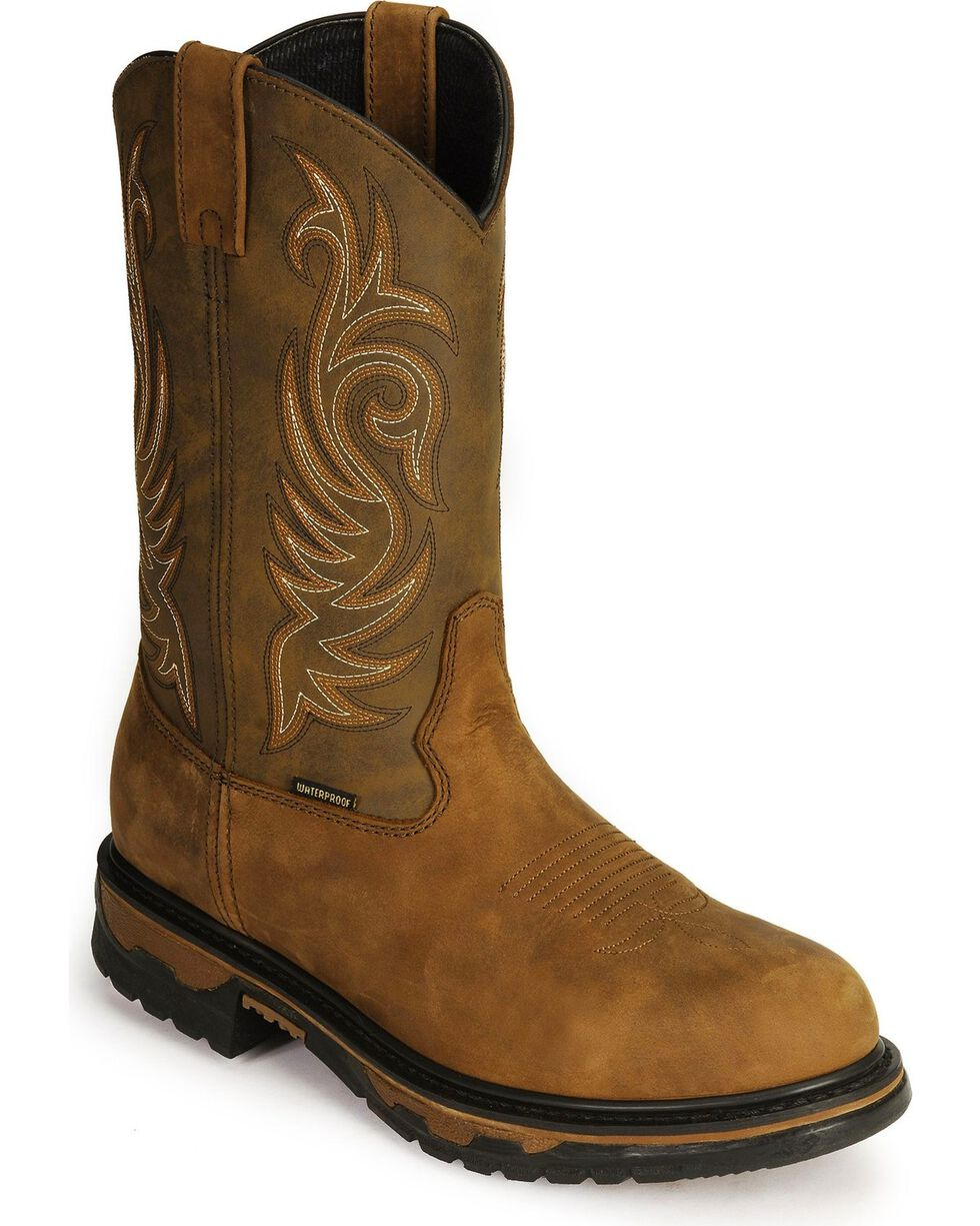 Laredo Men's Sullivan Waterproof Western Work Boots, Tan Distressed, hi-res
