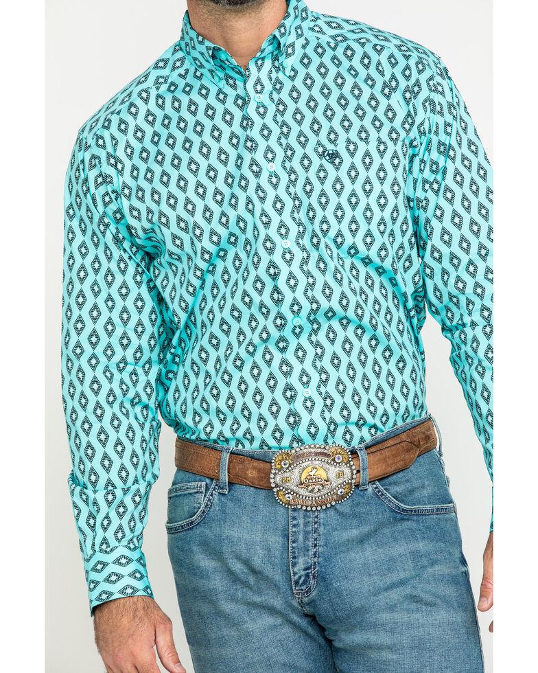 Ariat Men's Kulpten Stretch Geo Print Long Sleeve Western Shirt - Big , Blue, hi-res