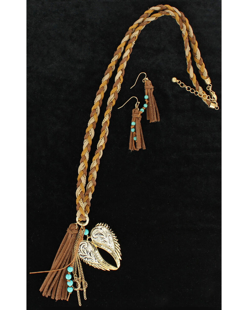 Blazin Roxx Heartwing Braided Leather Necklace & Earrings Set, Brown, hi-res