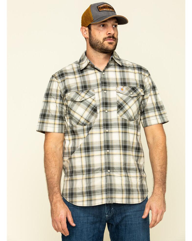 Carhartt Men's Olive Rugged Flex Bozeman Plaid Short Sleeve Work Shirt - Big , Olive, hi-res