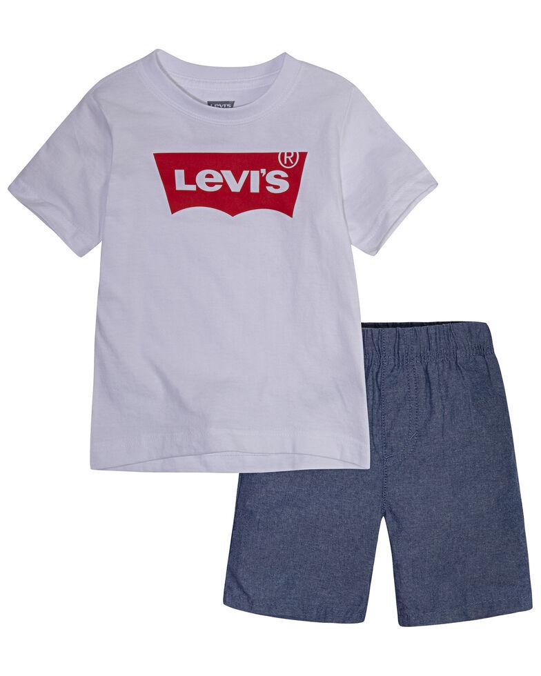 Levi's Toddler Boys' Batwing Logo Short Sleeve T-Shirt & Shorts Set , White, hi-res