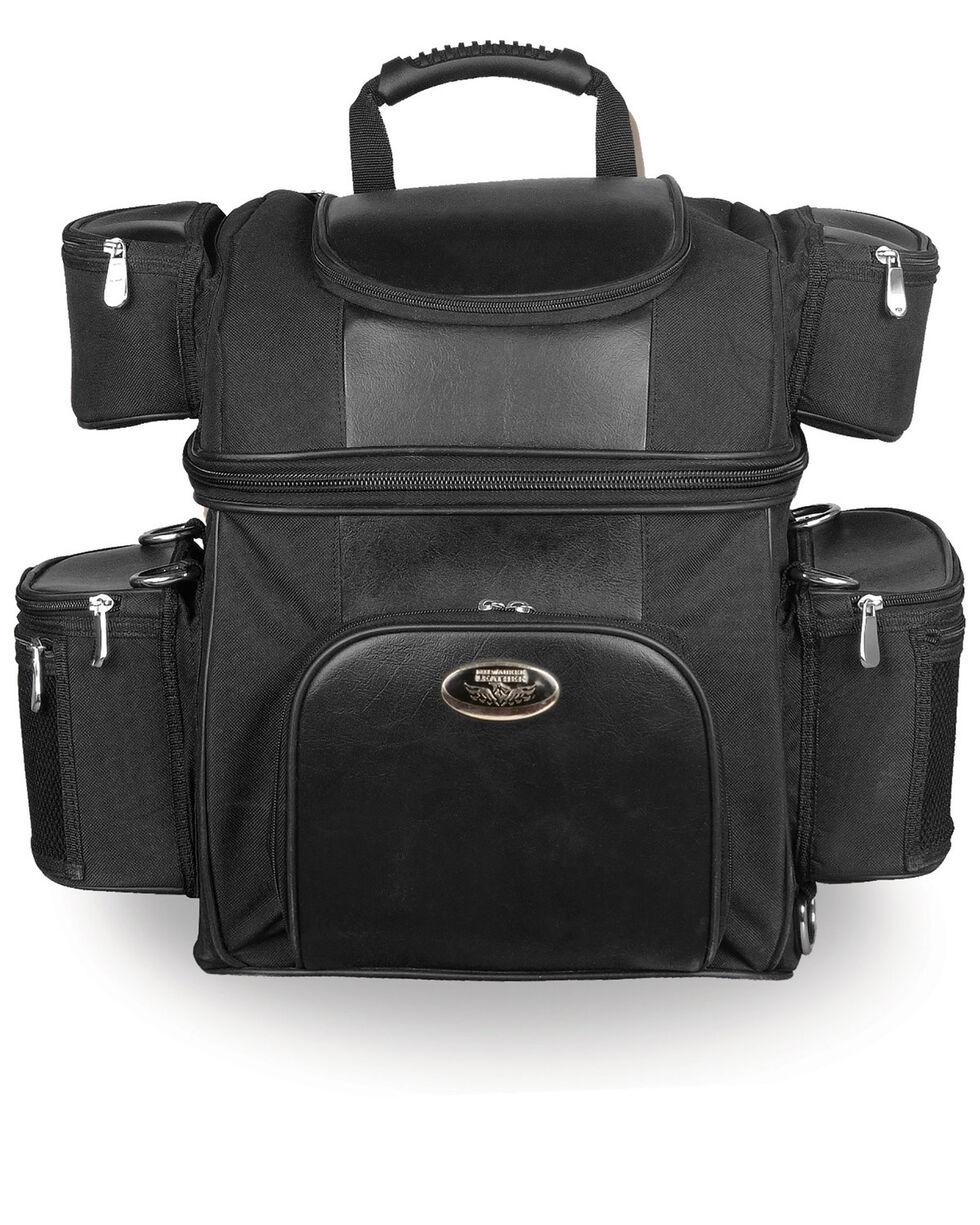 Milwaukee Leather Textile Double Barrel Motorcycle Sissy Bar Bag , Black, hi-res