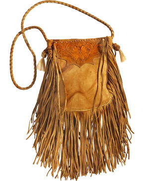 Kobler Leather Khaki Hand-Tooled Pouch Bag , Khaki, hi-res