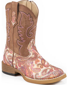 Roper Toddler Glitter Paisley Cowgirl Boots - Square Toe, Multi, hi-res