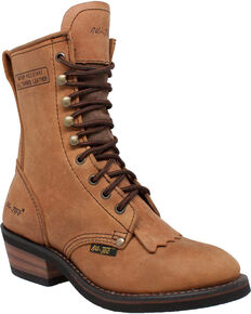 "Ad Tec Women's Tan 8"" Brown Leather Packer Boots - Soft Toe, Tan, hi-res"