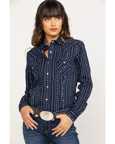 Rough Stock by Panhandle Women's Kaibab Aztec Stripe Long Sleeve Western Shirt, Navy, hi-res