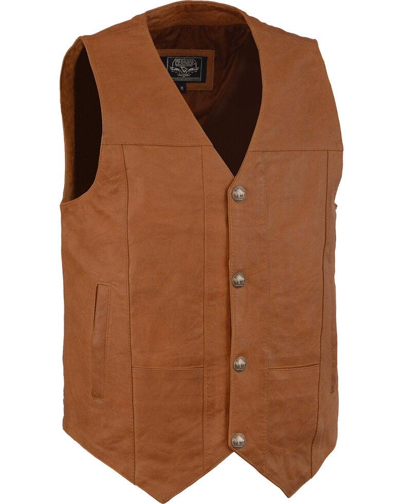 Milwaukee Leather Men's Western Plain Side Vest - Big - 5X , Tan, hi-res