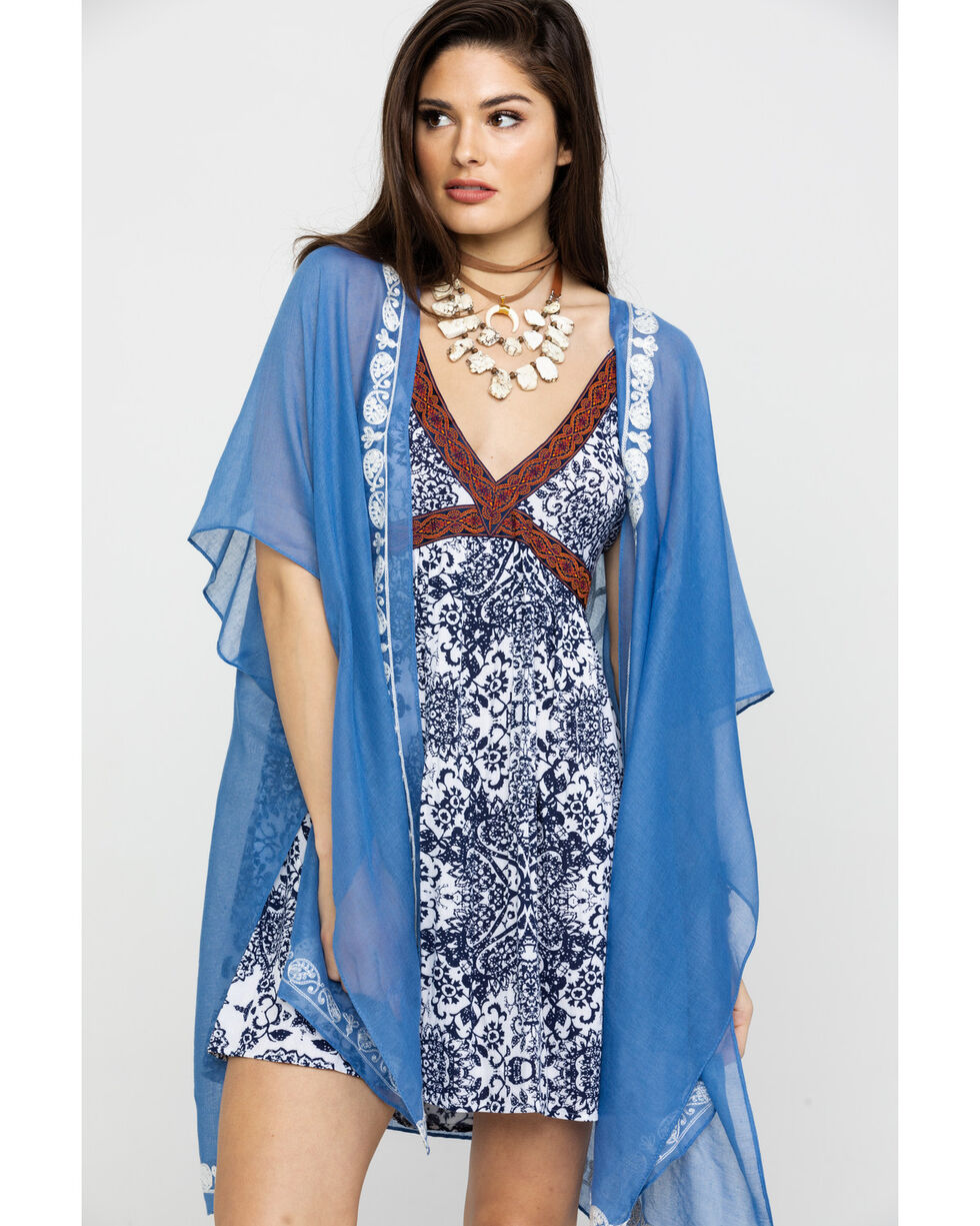 Shyanne Women's Periwinkle Embroidered Scarf, Periwinkle, hi-res