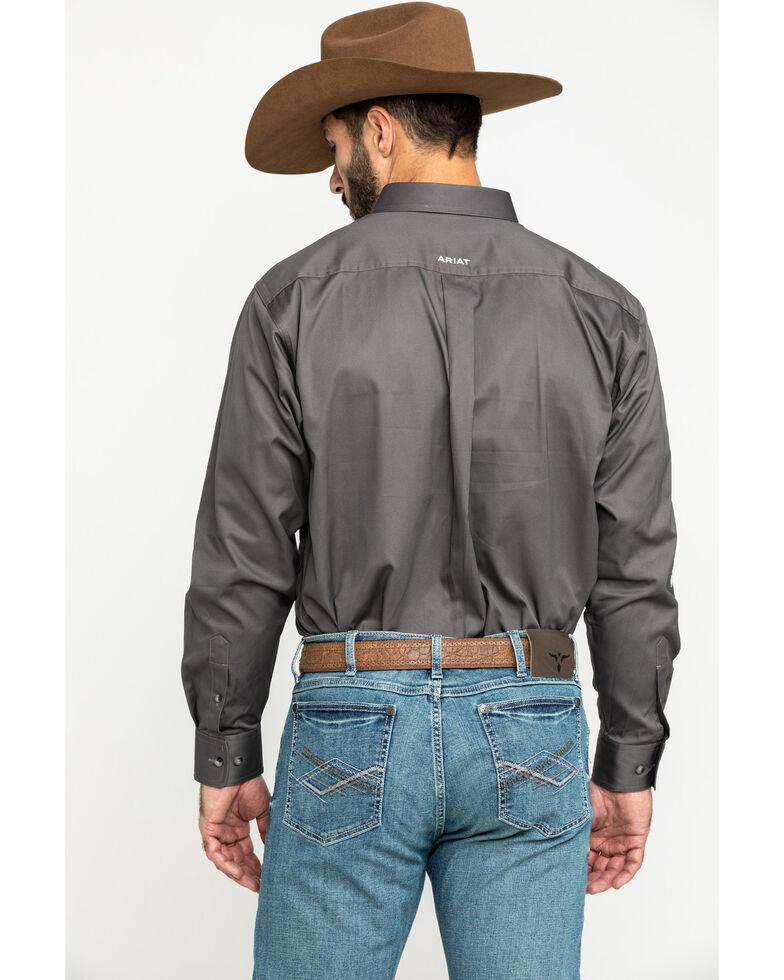 Ariat Men's Grey Team Logo Twill Long Sleeve Western Shirt , Grey, hi-res