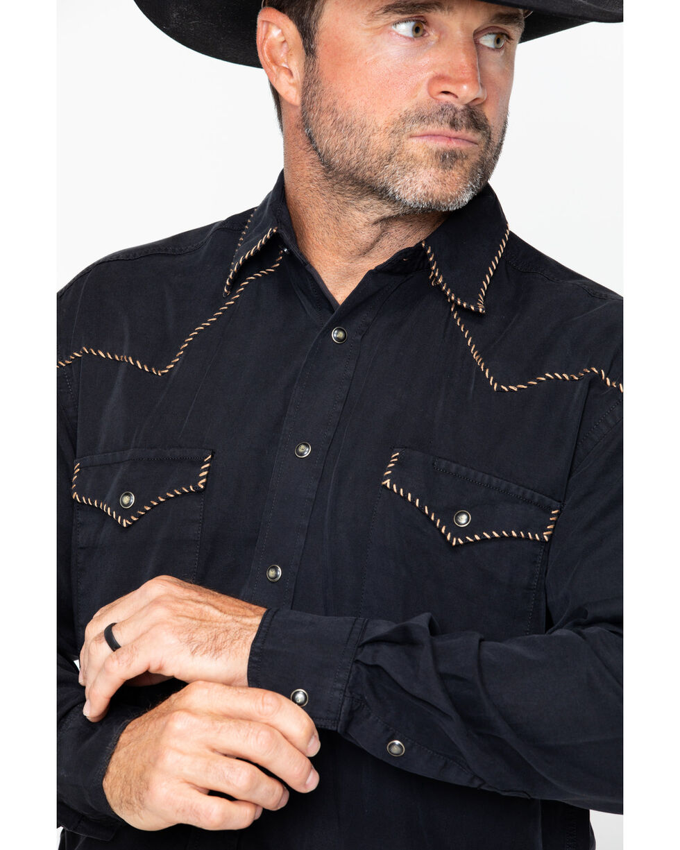 Panhandle Men's Long Sleeve Western Shirt, Black, hi-res