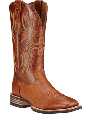 Ariat Men's Tombstone Smooth Ostrich Western Boots, Brandy, hi-res