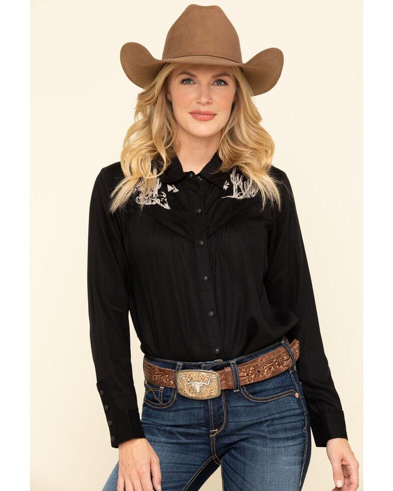 Ariat Women's Desert Ride Long Sleeve Shirt, Black, hi-res