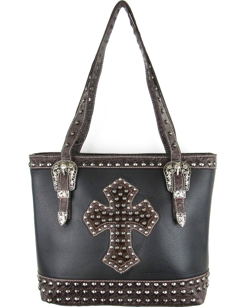 Savana Black Conceal Carry Hair-On Cross and Studs Handbag , Black, hi-res