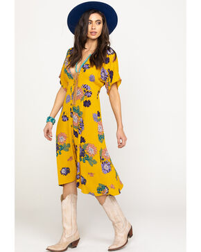 Luna Chix Women's Mustard Floral Button Down Midi Dress, Dark Yellow, hi-res