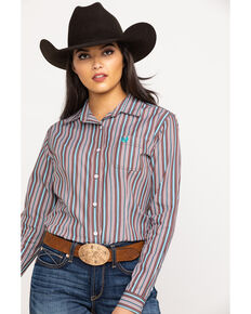 Rough Stock by Panhandle Women's Hanover Classic Stripe Long Sleeve Western Shirt, Brown, hi-res