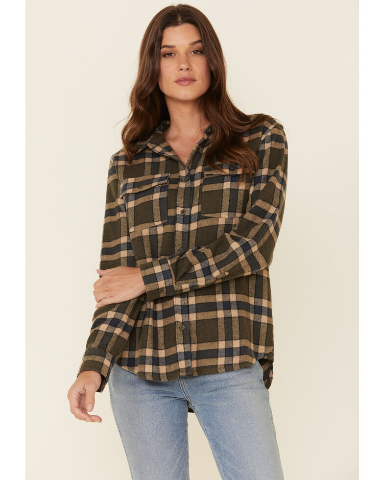 United By Blue Women's Plaid Long Sleeve Western Flannel Shirt , Olive, hi-res