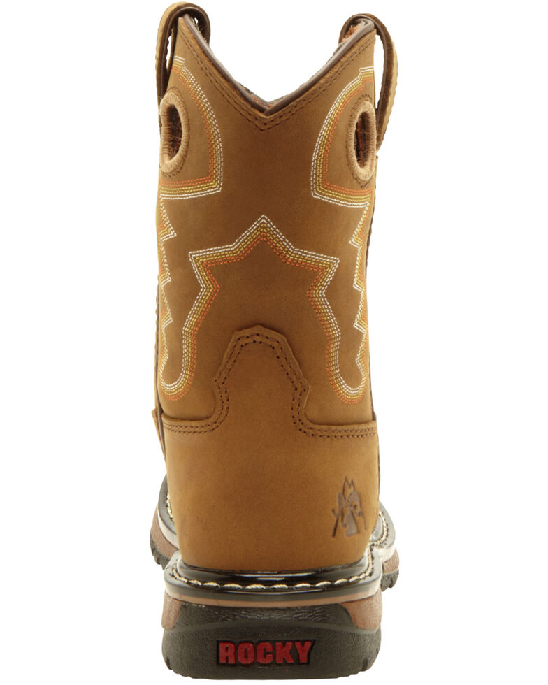 Rocky Boys' Branson Roper Western Boots - Round Toe, Tan, hi-res
