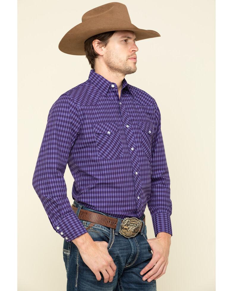Wrangler Silver Edition Men's Purple Checotah Geo Print Long Sleeve Western Shirt , Purple, hi-res