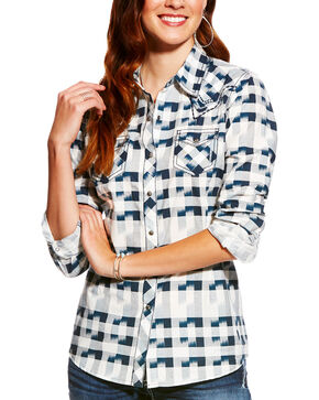 Ariat Women's Lana Ikat Print Long Sleeve Snap Shirt, Multi, hi-res