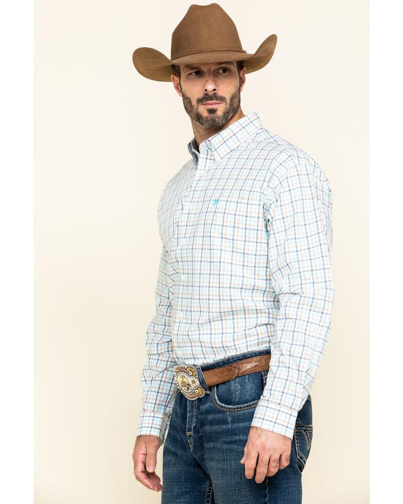 Cinch Men's White Med Plaid Long Sleeve Western Shirt , White, hi-res