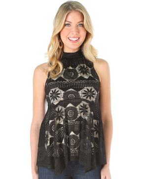 Wrangler Women's Black Sleeveless Mock Neck Lace Top , Black, hi-res