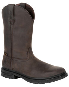 Rocky Men's Worksmart Waterproof Western Work Boots - Composite Toe, Chocolate, hi-res