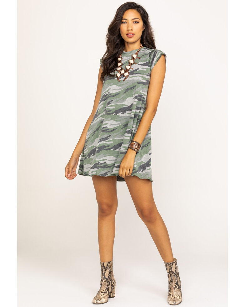 Elan Women's Camo Short Sleeve Swing Dress, Camouflage, hi-res