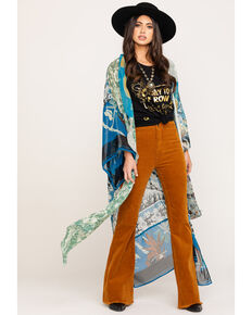 Free People Women's Mixed Print Keeping Up With The Kimono, Blue, hi-res