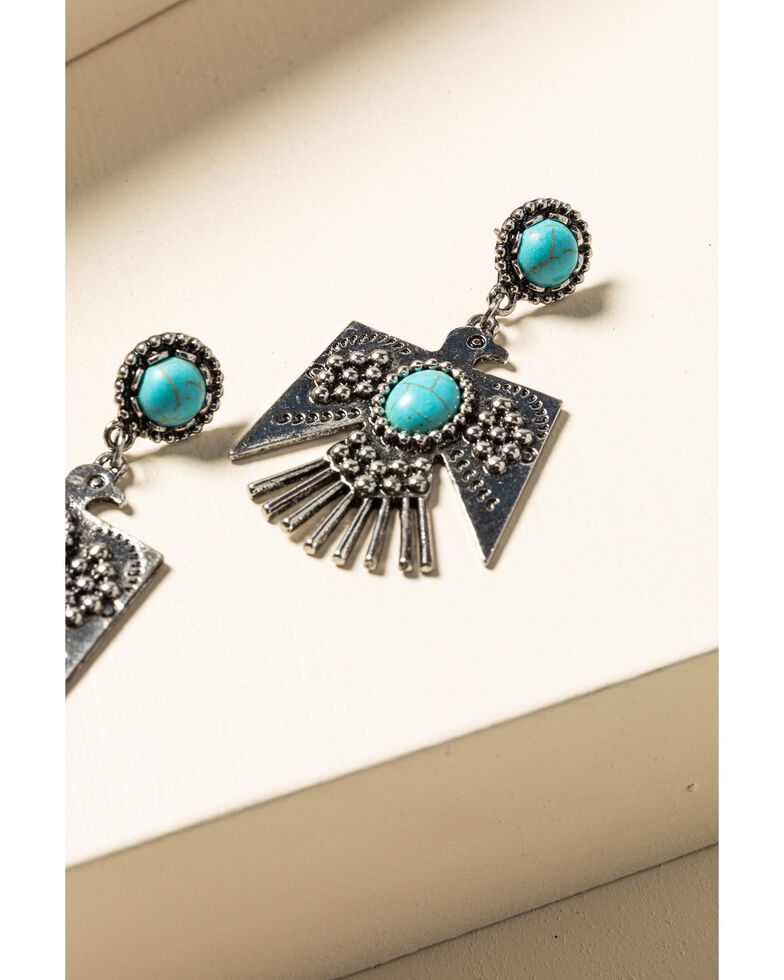 Idyllwind Women's Turquoise Beaded Thunderbird Earrings, Silver, hi-res