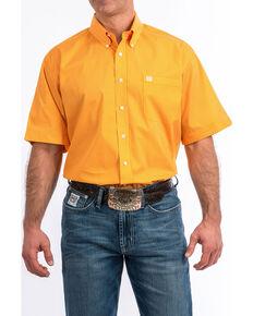 Cinch Men's Orange Geo Print Short Sleeve Western Shirt - Big , Orange, hi-res