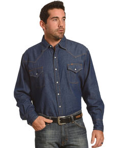 Ely Cattleman Men's Solid Denim Long Sleeve Shirt , Medium Blue, hi-res