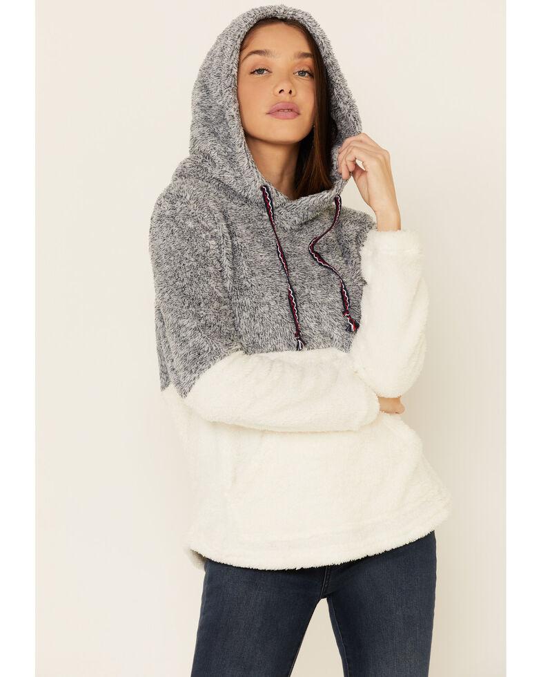 Hem & Thread Women's Navy Color Block Fuzzy Hooded Sweater , Navy, hi-res