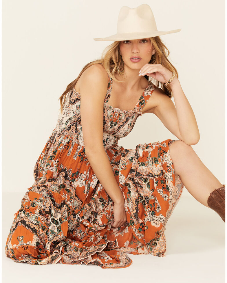 Nostalgia Women's Spice Smocked Top Dress, Cognac, hi-res