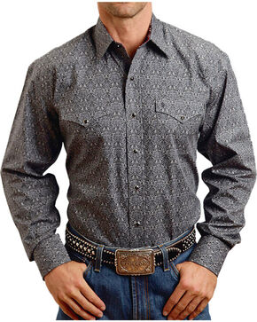 Stetson Men's Ornate Patterned Long Sleeve Shirt, Grey, hi-res