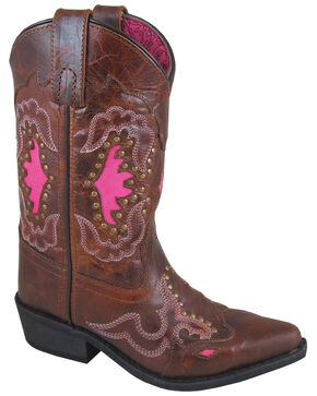 Smoky Mountain Girls' Moonbay Western Boots - Snip Toe, Brown, hi-res