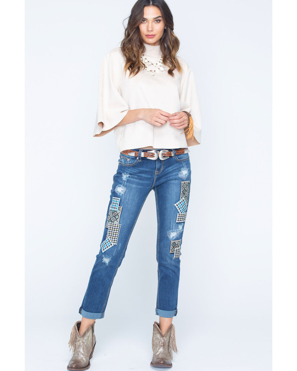 Grace in LA Women's Patch Front Jeans , Denim, hi-res