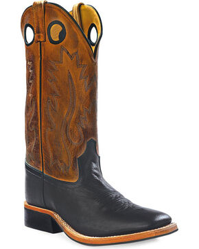 Old West Men's Round Hole Western Cowboy Boots - Square Toe, Black, hi-res