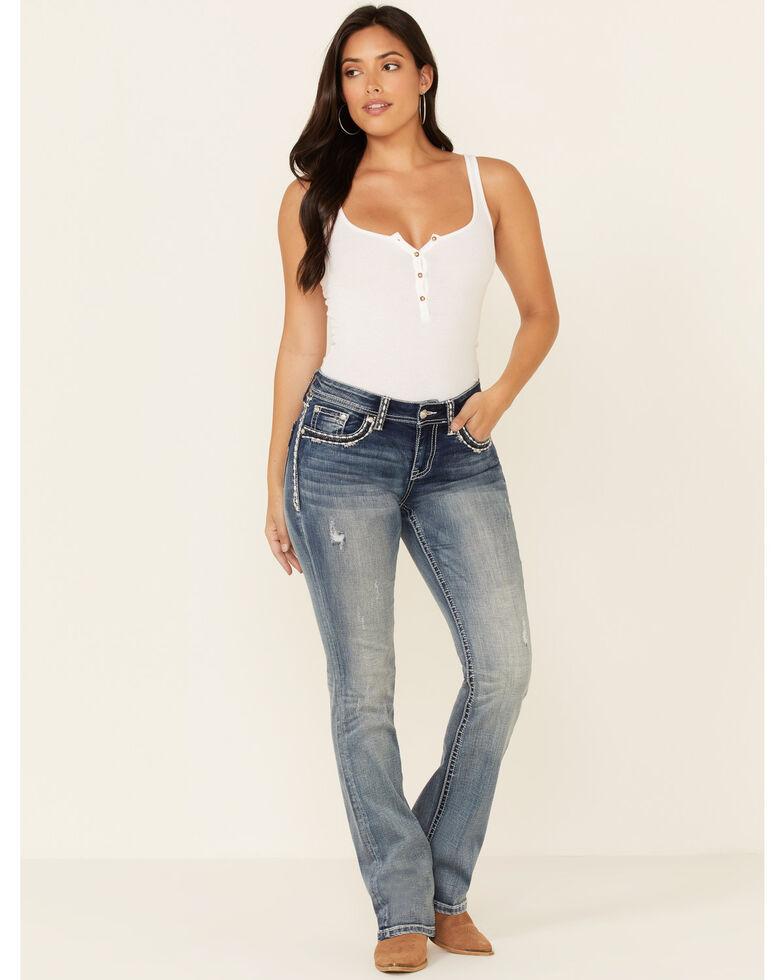 Grace in LA Women's Faded Bootcut Jeans, Blue, hi-res