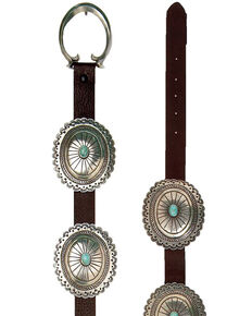 Double D Ranch Women's Carracas Concho Belt, Brown, hi-res