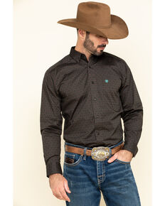 Ariat Men's Orinda Stretch Aztec Geo Print Fitted Long Sleeve Western Shirt , Grey, hi-res