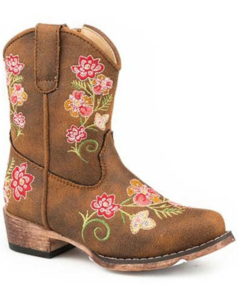 Roper Toddler Girls' Juliet Western Boots - Snip Toe, Tan, hi-res