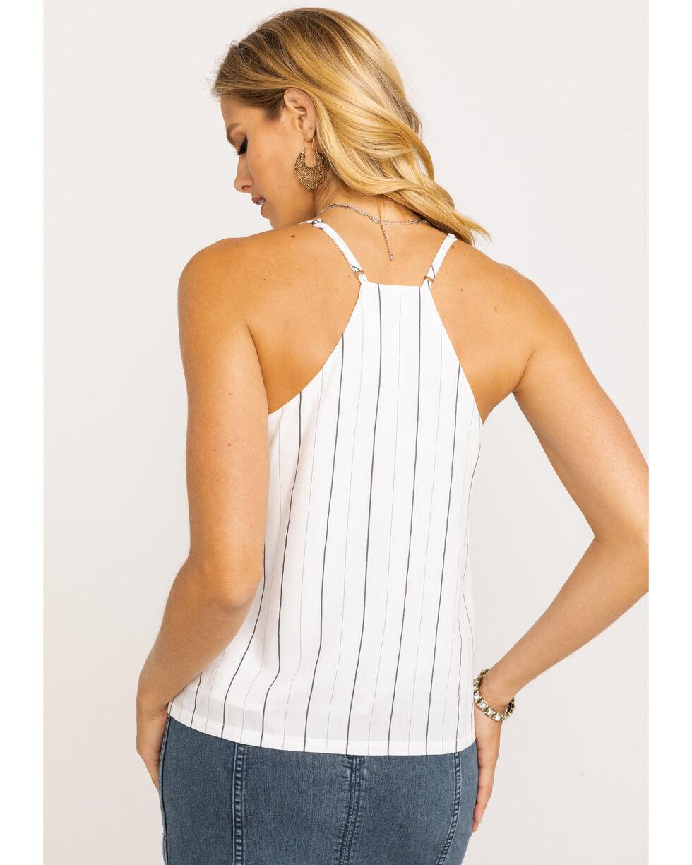 Miss Me Women's Pin Stripe Button Down Cami , White, hi-res