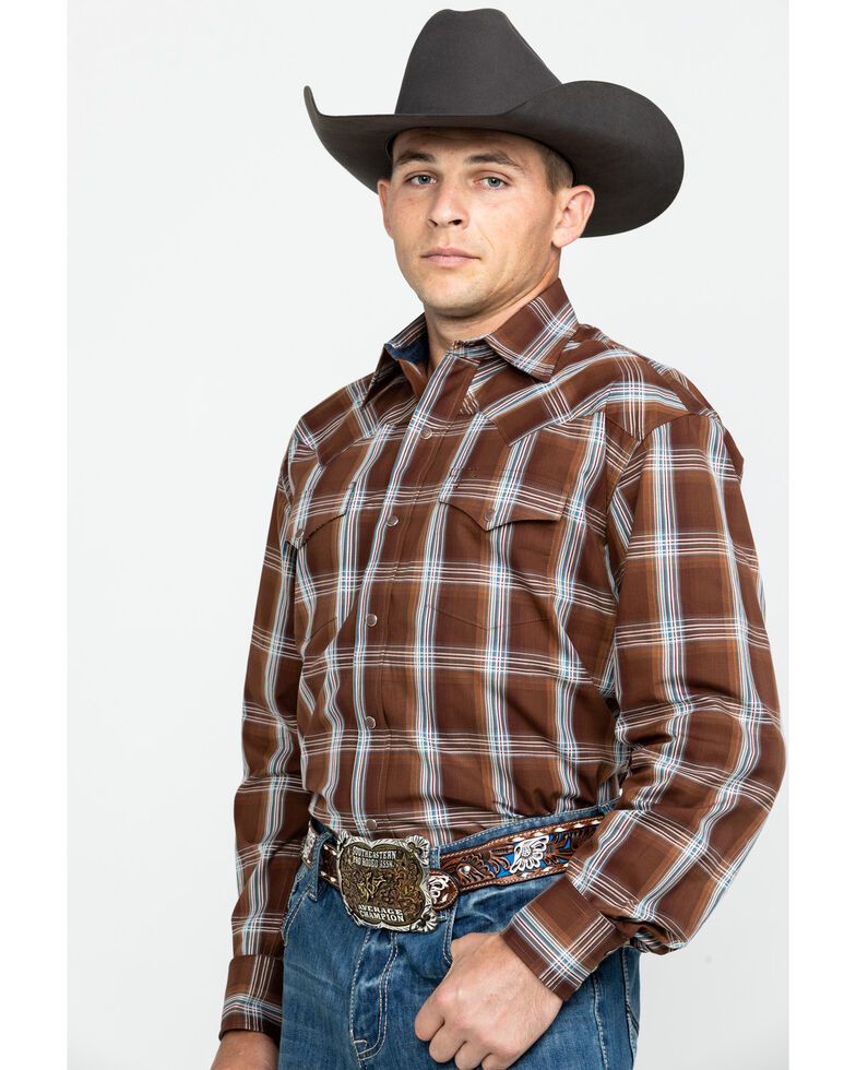 Stetson Men's Clay Plaid Long Sleeve Western Shirt , Brown, hi-res