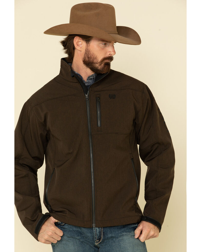 Cinch Men's Brown Solid Logo Textured Bonded Jacket - Big , Brown, hi-res