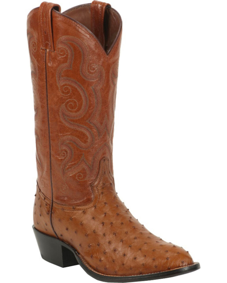 Tony Lama Men's Full Quill Ostrich Exotic Western Boots, Peanut Brittle, hi-res