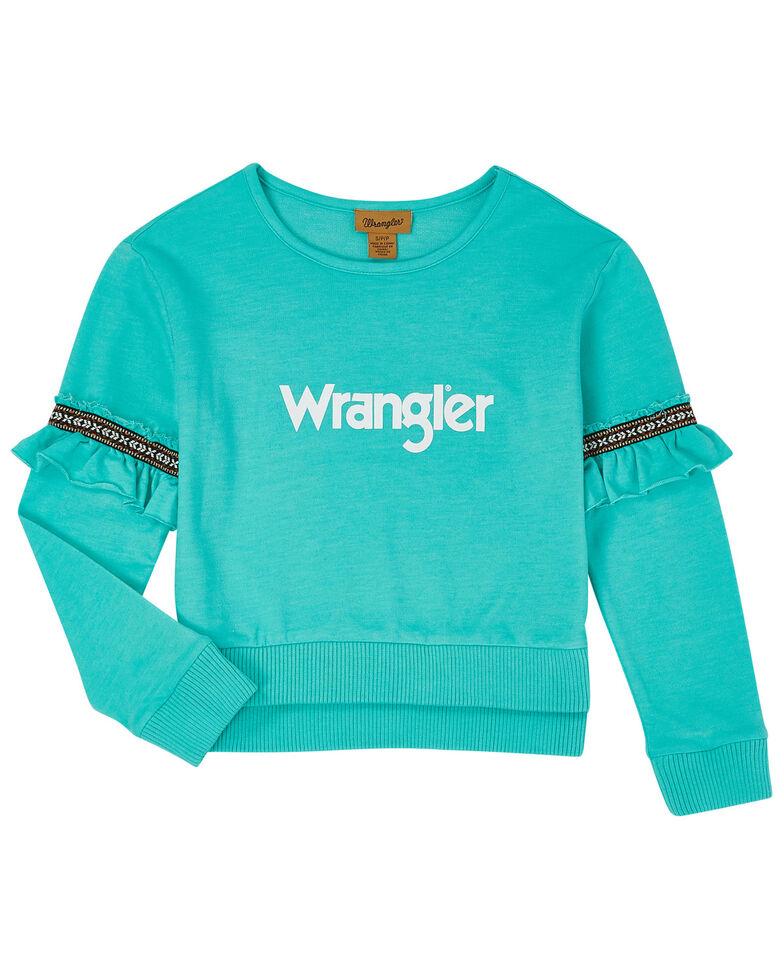 Wrangler Girls' Turquoise Graphic Ruffle Sweatshirt, Turquoise, hi-res