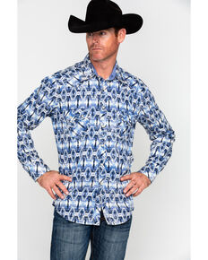 Rock & Roll Cowboy Men's Crinkle Washed Aztec Print Long Sleeve Shirt , Blue, hi-res