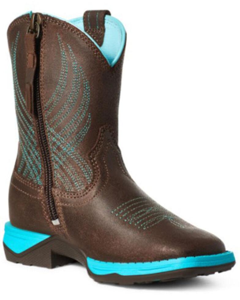 Ariat Boys' (8-10) Anthem Java Western Boots - Square Toe, Dark Brown, hi-res