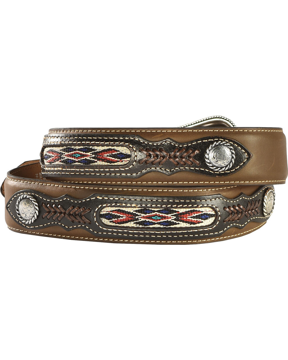 Nocona Leather Overlay Laced Concho Belt, Med Brown, hi-res